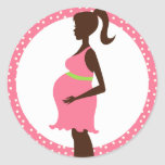 Pregnant Lady holding Belly Envelope Seals Round Sticker