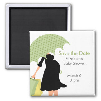 Pregnant Mom Baby Shower {green} Magnet