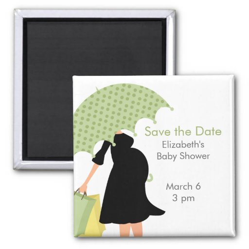 Pregnant Mom Baby Shower {green} Refrigerator Magnet