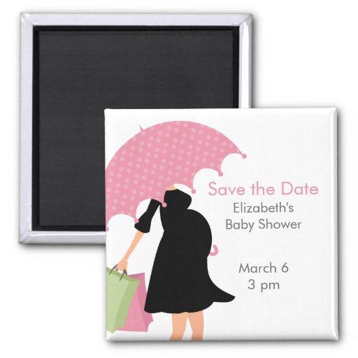 Pregnant Mom Baby Shower {pink} Refrigerator Magnets
