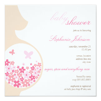 Pregnant Mom Butterflies Daisies Baby Girl Shower 13 Cm X 13 Cm Square Invitation Card