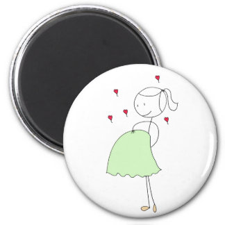 Pregnant Mommy (green) 6 Cm Round Magnet