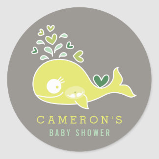Pregnant Mommy Whale Twins Baby Shower Sticker
