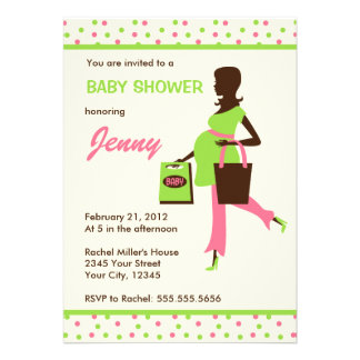 Pregnant Shopping Lady Baby Shower Personalized Invites