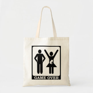 Pregnant Wife Game Over Tote Bags