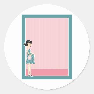Pregnant Woman Border Classic Round Sticker