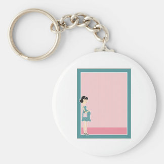 Pregnant Woman Border Key Ring