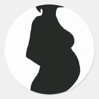 Pregnant Woman Silouhette Round Sticker