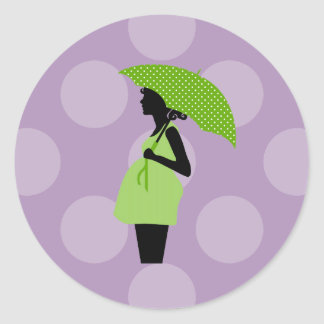 Pregnant Woman with Umbrella - Green Black Round Stickers