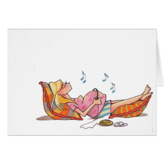 Pregnant Women Music Notecard Note Card