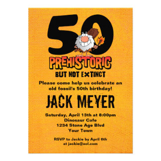 Prehistoric 50th Birthday Personalized Announcement
