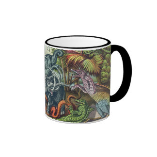 Prehistoric Animals Antique Print Ringer Mug