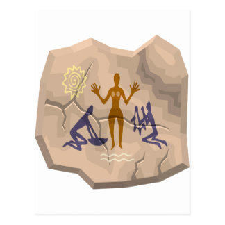 Prehistoric Cave Drawing Woman & Servants Postcard