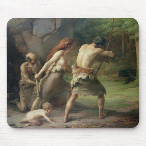 Prehistoric Man Hunting Bears, 1832 Mousepad