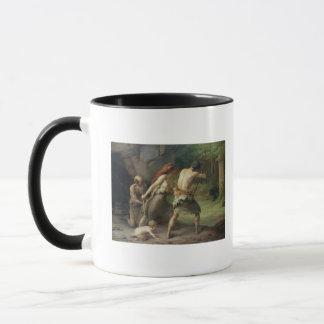 Prehistoric Man Hunting Bears, 1832 Mug