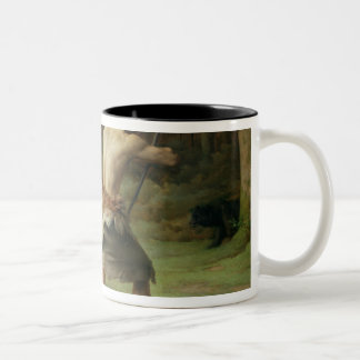 Prehistoric Man Hunting Bears, 1832 Two-Tone Coffee Mug