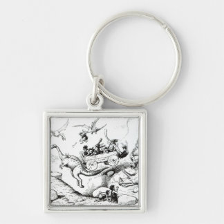 Prehistoric Peeps, 1894 Silver-Colored Square Key Ring