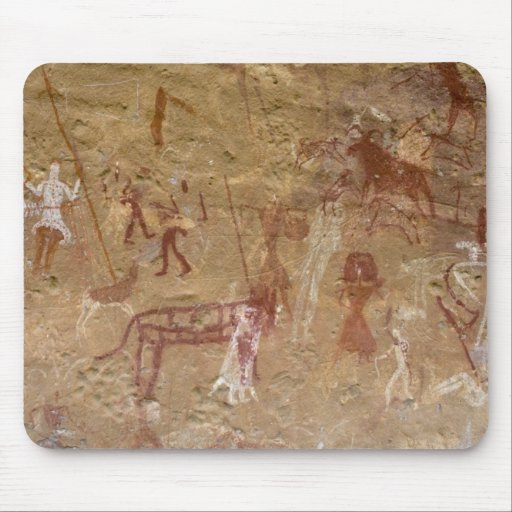 Prehistoric rock paintings, Akakus, Sahara Mousepads