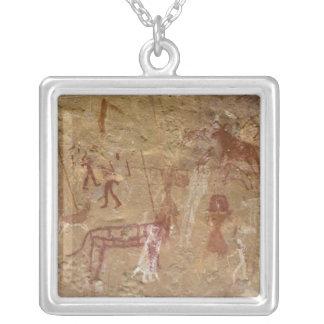 Prehistoric rock paintings, Akakus, Sahara Silver Plated Necklace