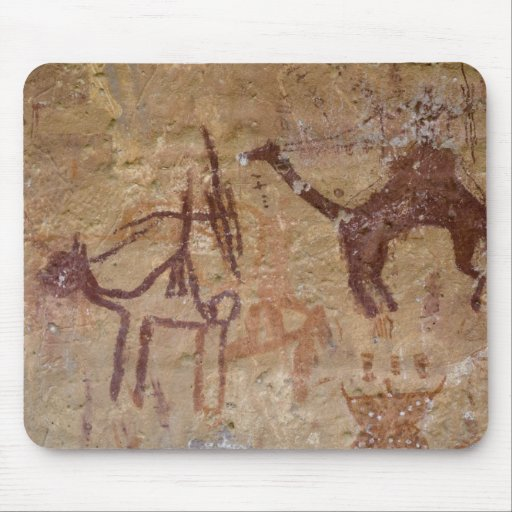 Prehistoric rock paintings with camels and mouse pads