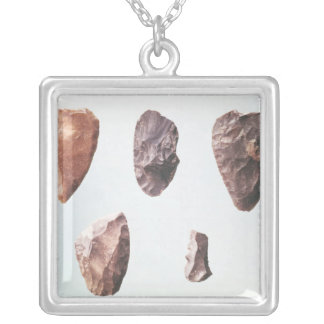 Prehistoric stone tools, from Grotte de Square Pendant Necklace