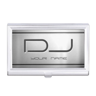 Premium Brushed Stainless Steel Metal Music DJ Business Card Holder