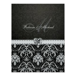 Premium Metallic Silver Damask Wedding Invites