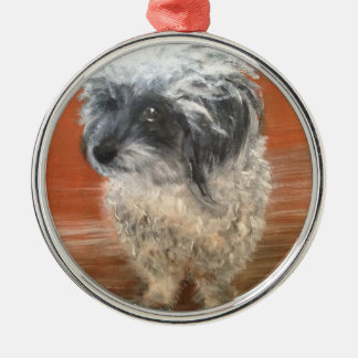 "Premium round ornamentation "" portrait dog "" christmas ornament"