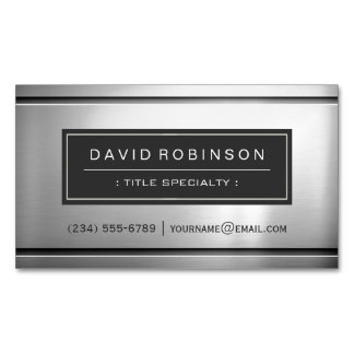 Premium Silver Metallic Stainless Steel Look Magnetic Business Cards