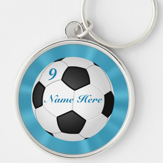 Premium Silver Soccer Keychains YOUR NAME & NUMBER