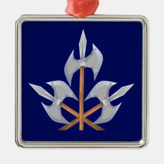 Premium Square Ornament three Crossed Battle Axes