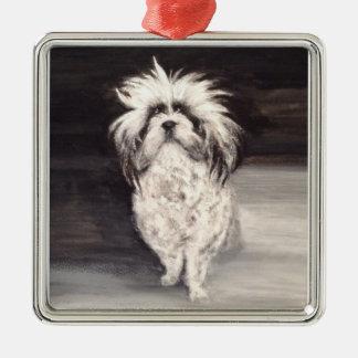 """Premium square ornamentation """"portrait dog """" Silver-Colored square decoration"""