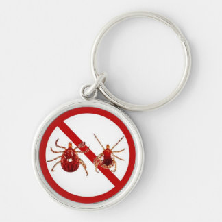 Premuim Key Chain, Lyme Disease Prevention Silver-Colored Round Key Ring