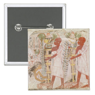 Preparation two mummies for purification ceremony 15 cm square badge