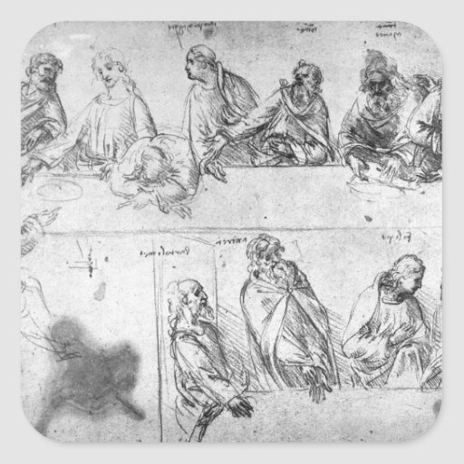 Preparatory drawing for the Last Supper Square Sticker