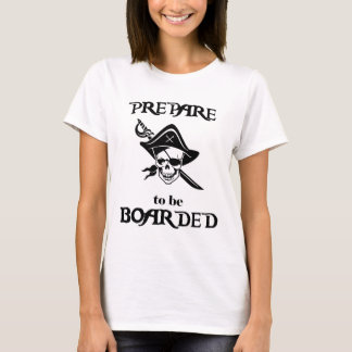 Prepare to be Boarded Black Pirate Skull and Sword T-Shirt