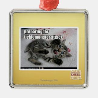 Preparing For Ticklemonster Attack Christmas Ornament