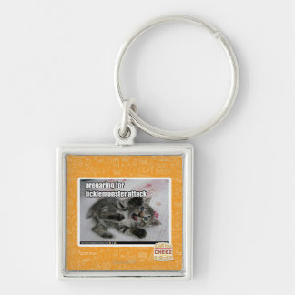 Preparing For Ticklemonster Attack Silver-Colored Square Key Ring