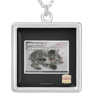 Preparing For Ticklemonster Attack Silver Plated Necklace
