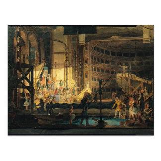 Preparing Scenery in a Theatre Postcard