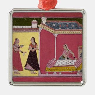 Preparing the Bed, Bilaspur, c.1690-1700 Christmas Ornament