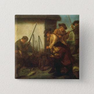 Preparing the Guns (oil on canvas) 15 Cm Square Badge