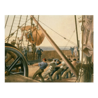 Preparing to launch one of the large buoys, August Postcard
