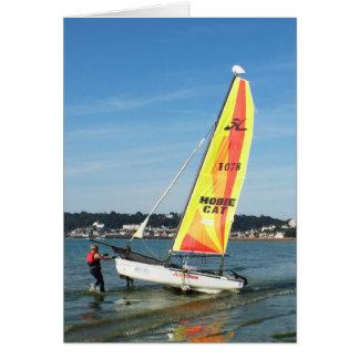 Preparing to sail a Hobie cat Greeting Card