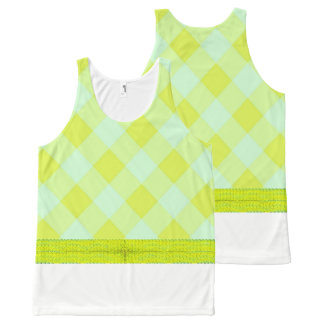Preppie*-Pool-House-Argyle-Lime-Blue_Casual All-Over Print Tank Top