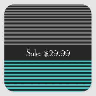Preppy and Fresh Teal Stripes Price Tag Square Sticker