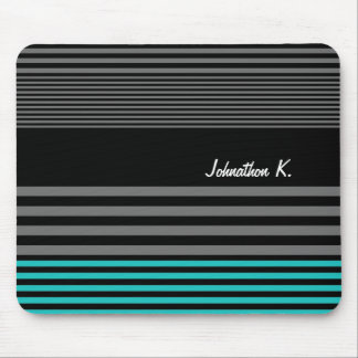 Preppy and Fresh Teal Stripes With Name Mouse Mat