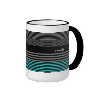 Preppy and Fresh Teal Stripes With Name Ringer Mug