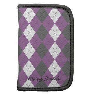 Preppy Argyle Custom Name Purple Pattern Organizers