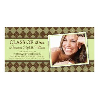Preppy Argyle Graduation Announcement (green) Personalized Photo Card